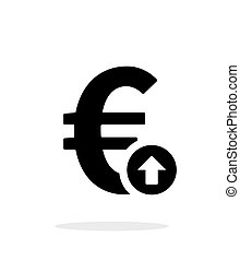 Euro exchange rate up icon on white background Vector...