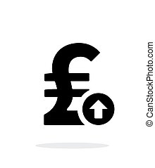 Pound sterling exchange rate up icon on white background...