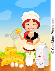 girl sells dairy product