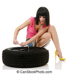 Woman and wheel isolated over white background