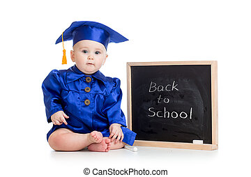 funny baby in academician clothes at chalkboard isolated