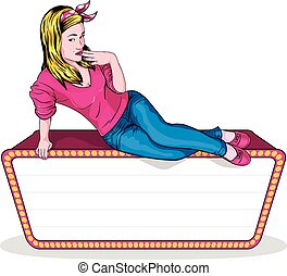 Pin Up Girl Space For Text - Beautiful girl lying on a sign...