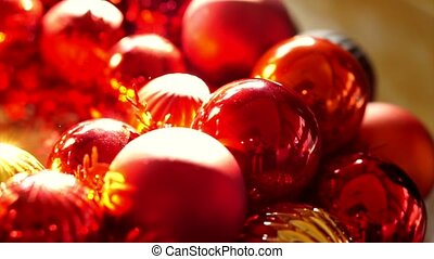 Shiny red gold Christmas ornaments - Close up, Shiny red and...
