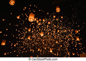 CHIANG MAI, THAILAND-Oct 25:Yee Peng Festival - people...