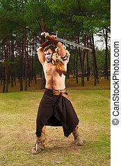 guerriero, Antico, Spada, muscolare, ritratto
