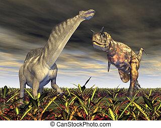 Carnotaurus attacks Amargasaurus - Computer generated 3D...