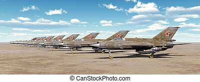 Soviet jet fighter aircrafts - Computer generated 3D...
