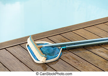 Brush and Leaf Skimmer Beside Swimming Pool - Wall Brush and...