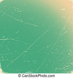 Old scratched card with halftone gradient - Old scratched...