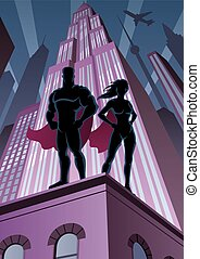 Superhero Couple 5 - Superhero couple watching over the city...