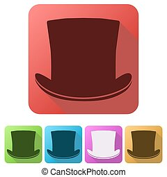 Set Flat icons of black gentleman hat cylinder. Vector...