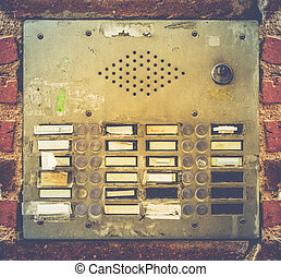Retro Grungy Apartment Buzzer System - Retro Filter Photo Of...