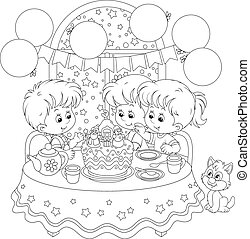 Christmas cake - Children at the holiday table with a...