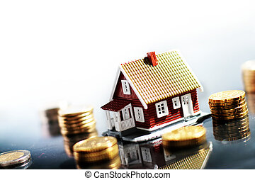 House and money - Little house and lot of money isolated on...