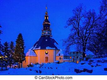 Seiffen church in winter