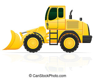 bulldozer for road works illustration isolated on white...