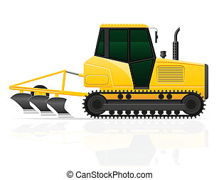 caterpillar tractor with plow illustration isolated on white...