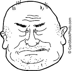 Outline of Man Sneering - Isolated cartoon outline of bald...