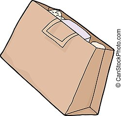Single Grocery Bag - Single brown paper grocery bag over...