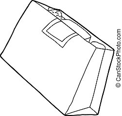 Outline Grocery Bag - Cartoon outline of full paper grocery...