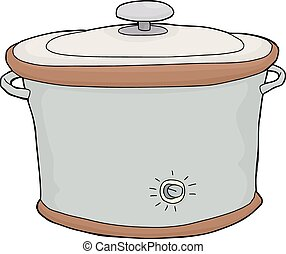 Isolated Slow Cooker - Isolated hand drawn cartoon electric...