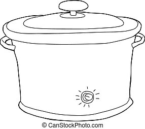 Slow Cooker Outline - Outline cartoon of closed electric...