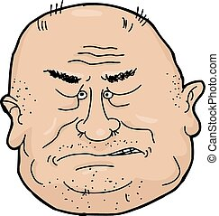 Sneering Man - Sneering balding senior man cartoon over...