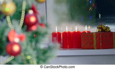 Christmas background - Christmas tree gift box and burning...