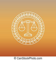 Vector juridical and legal logo and sign - line label