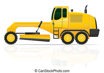 grader for road works illustration isolated on white...