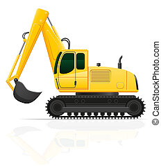 excavator for road works illustration isolated on white...