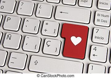 Love concept, heart shape keyboard key. - Spanish keyboard...