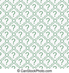 Green and White Question Mark Symbol Pattern Repeat...