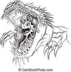 Alien Parasite Monster Sketch Art