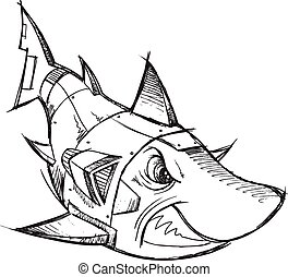 Cyborg Robot Shark Sketch Vector