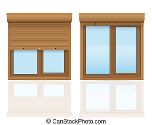 brown plastic window with rolling shutters illustration