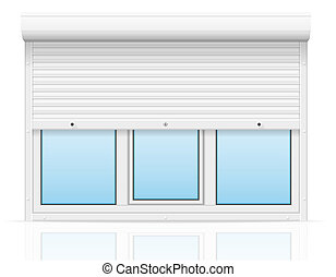 plastic window with rolling shutters illustration