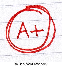 A+ grade written on a test paper.
