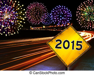 Happy New Year 2015 fireworks city cars highway - Happy New...