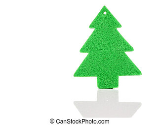 Christmas green tree decorations isolated on white...