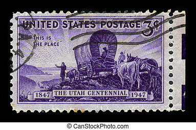 first settlers in Utah - United States - CIRCA 1947: A stamp...