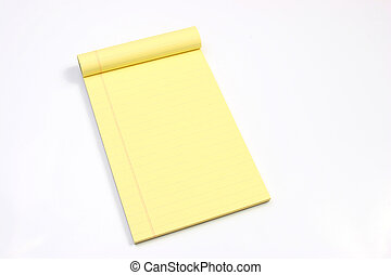 Blank yellow pages horizontal - Legal note pad on a white...