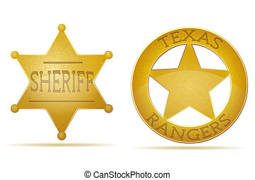star sheriff and ranger illustration isolated on white...