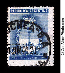 coat of arms of Argentina - ARGENTINA - CIRCA 1944: A stamp...