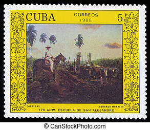 Oxcart by Eduardo Morales - CUBA - CIRCA 1988: a stamp...