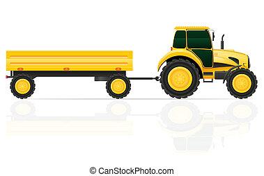 trattore, roulotte, illustrazione,
