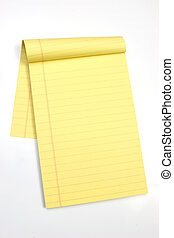 Blank yellow pages vertical - Legal note pad on a white...