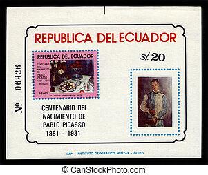 Pablo Picasso paintings - Ecuador - CIRCA 1981: a souvenir...