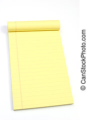 Blank yellow pages oblique - Legal note pad on a white...