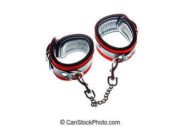 Toy handcuffs - Red leather handcuffs in white background
